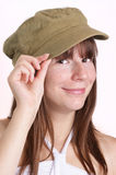 young woman carries a farmers hat Royalty Free Stock Images