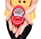 A young woman carrying a beautiful diamond ring Stock Photography