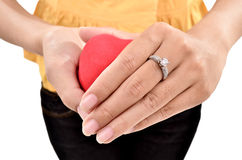 A young woman carrying a beautiful diamond ring Royalty Free Stock Photo
