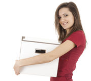 Young woman carrying cardboard boxes Stock Images