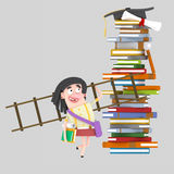 Young woman carrying a ladder royalty free illustration