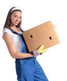 Young woman carrying moving box Stock Images
