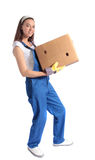 Young woman carrying moving box Royalty Free Stock Photo