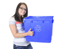 Young woman carrying a plastic container Stock Images