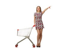 Young woman with cart isolated on white Stock Photo