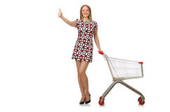 Young woman with cart isolated on white Stock Images