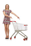 Young woman with cart isolated on white Stock Photography