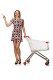 Young woman with cart isolated on white Royalty Free Stock Photo