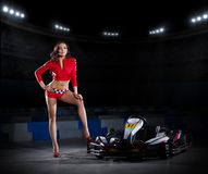 Young woman with carting car Stock Photography