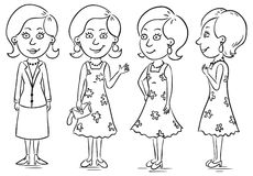 Young woman. Cartoon character in different poses Stock Photo