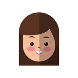 Young woman cartoon icon. Happy young woman face cartoon icon over white background. colorful design. vector illustration Royalty Free Stock Image