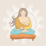 Young woman in cartoon style doing yoga while holding a cute and calm baby boy. Royalty Free Stock Image