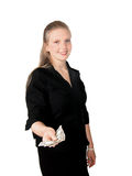 Young Woman Cash Stock Photography