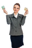 Young woman with cash Royalty Free Stock Images