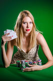 The young woman in casino gambling concept Royalty Free Stock Photos