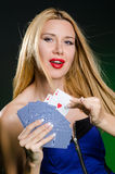 The young woman in casino gambling concept Royalty Free Stock Images