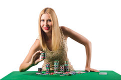 The young woman in casino gambling concept Royalty Free Stock Image