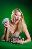 The young woman in casino gambling concept Stock Photos