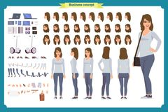 Young woman, casual clothes. Character creation set. Full length. Different views, emotions, gestures, isolated against white background. Build your own design vector illustration