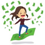 Woman Riding Banknote. Young woman with casual clothes happy riding green banknote Stock Images