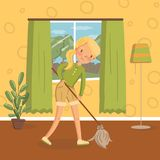 Young woman in casual clothing cleaning the floor with a mop in living room, vintage cozy home interior vector. Illustration, cartoon style Royalty Free Stock Photo