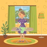 Young woman in casual clothing ironing clothes on an ironing board in living room, vintage cozy home interior vector. Illustration, cartoon style Royalty Free Stock Image
