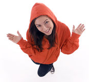 Young woman in casual clothing with open arms Stock Photos