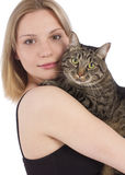 Young woman with cat. On white background Royalty Free Stock Image
