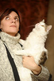 Young woman with a cat Stock Photo