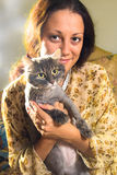 The girl and cat Royalty Free Stock Photo