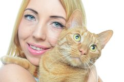 Young woman with cat. Isolated Royalty Free Stock Photos