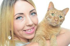 Young woman with cat. Isolated Royalty Free Stock Images