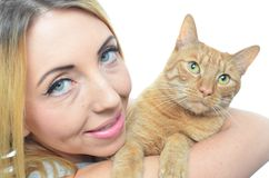 Young woman with cat. Isolated Stock Photo