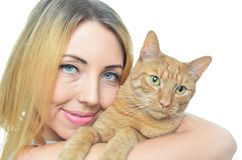 Young woman with cat. Isolated Stock Image