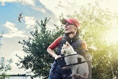 Young woman with a cat. Young woman on bike with a cat in a basket standing on road and looking to somewhere Royalty Free Stock Photos