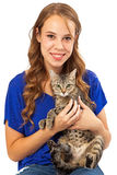 Young Woman and Cat Looking Forward Royalty Free Stock Images