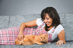 Young woman with cat Royalty Free Stock Image