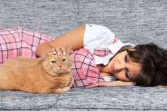 Young woman with cat Royalty Free Stock Photo