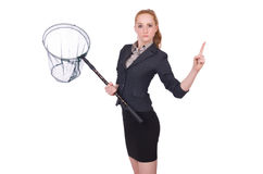 Young woman with catching net Royalty Free Stock Photography