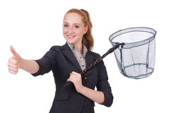 Young woman with catching net Royalty Free Stock Image