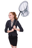 Young woman with catching net Stock Images
