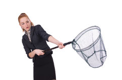 Young woman with catching net Stock Photo