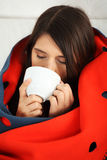 Young woman caught cold. Royalty Free Stock Photo