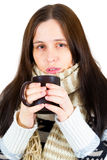 Young woman caught cold Royalty Free Stock Photos
