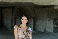 Young woman in a cave Royalty Free Stock Photos