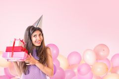 Young woman celebrating birthday Royalty Free Stock Photo