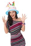 Young woman celebrating birthday smiling Royalty Free Stock Image