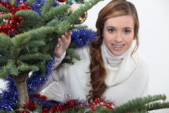 Young woman celebrating Christmas Stock Photography