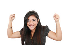 Young woman celebrating success Stock Photos