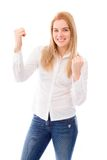 Young woman celebrating success Royalty Free Stock Photography